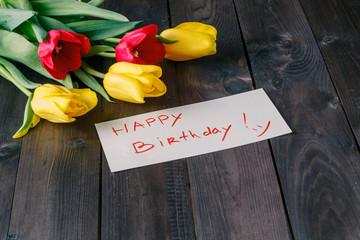 Tulips with birthday message
