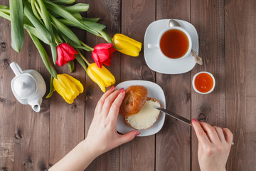 Holiday breakfast with flowers
