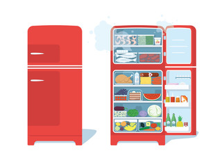 Vintage Red Closed and Opened Refrigerator Full Of Food. Vector Illustration