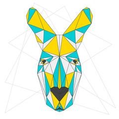 Abstract blended colored polygonal triangle geometric kangaroo i