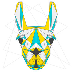 Abstract blended colored polygonal triangle geometric llama
