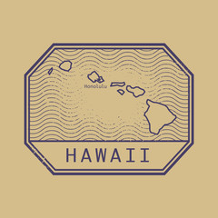 Stamp with the name and map of Hawaii, United States