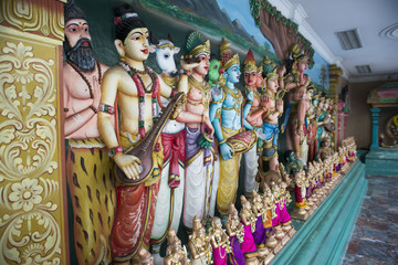 Figurines in a Hinduism temple. Wall mural