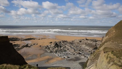Fototapete - Sandymouth beach North Cornwall England UK on the south west coast path and near Bude