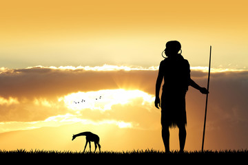 Masai silhouette in African landscape