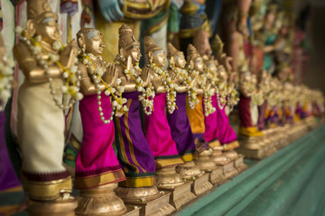 Small figurines in a Hinduism temple. Wall mural