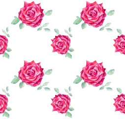 Seamless pattern of rose flower on a white background.