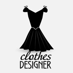 Logo for designer clothes The prototype for the logo designer clothes - a black dress with the words