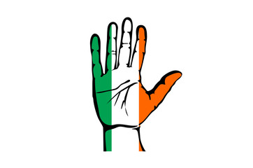 Hand with five fingers stretched upward, colors of the Irish flag