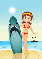 girl with shark surf in summer