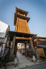 Kawagoe, Japan - January 20, 2015:  Kawagoe's Bell Tower was built in the early 1600's but has been rebuilt several times due to fire damage.