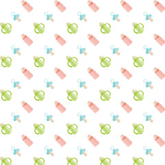 Seamless baby pattern. Feeding bottle and nipple.