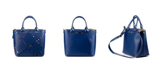 blue leather handbag isolated on white background