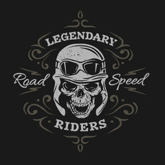 Vintage Biker Skull. On a dark background.