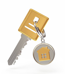 Key and round key chain with house isolated on a white background