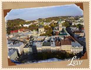 Lviv, old photo imitation, city, town , design, frame,