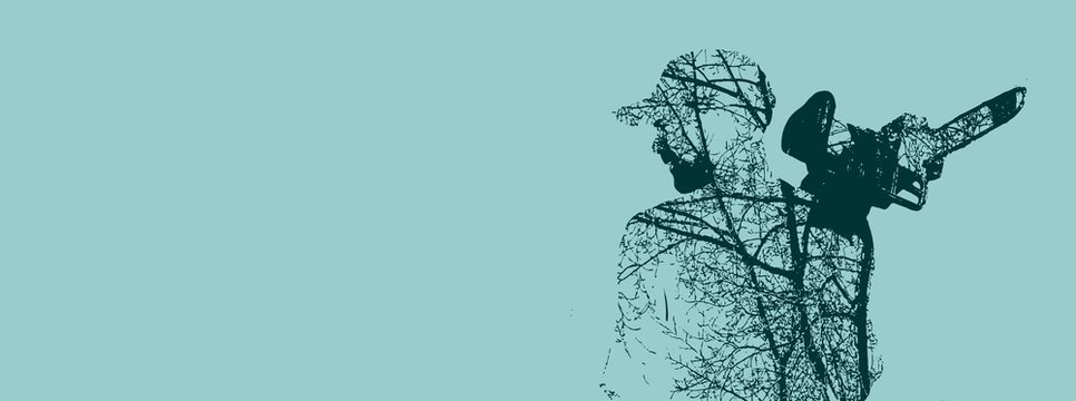 Double exposure of bearded man with chainsaw