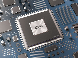 Processor (microchip) interconnected receiving and sending information. Concept of technology and future.