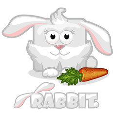 cute cartoon square rabbit  with carrot