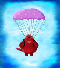 Red Cat Jumping With Parachute