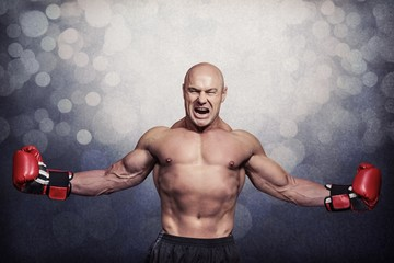 Composite image of successful boxer with arms outstretched