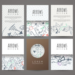Set of six vector designs of hand-drawn arrow. Cover design, brochures, leaflets, business cards, magazine, flyers, leaflets, stickers.