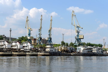 River tugs at the Western river port in Moscow.