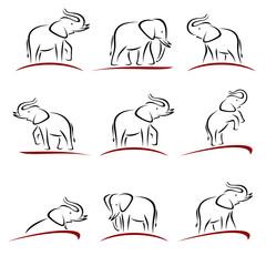 Elephant set. Vector
