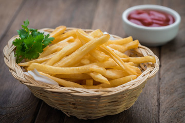 French fries in basket and ketchup
