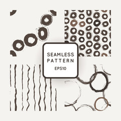 Set of four vector abstract seamless grunge patterns