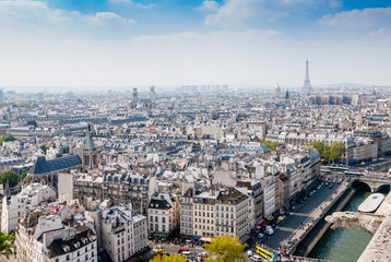 Top view from Notre Dame Cathedral in Paris, France.