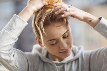 portrait of a cute blond girl