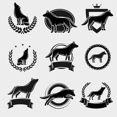 Wolf label and icons set. Vector