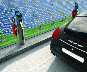 Hybrid Car, charge point and solar panels