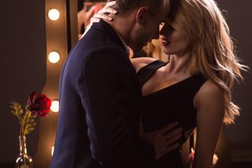 Sexy woman seducing a man