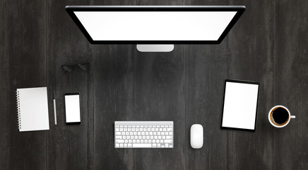 Responsive devices with isolated screen for mockup. Top view of modern desk with computer display, phone and tablet. Keyboard, mouse, coffee, glasses, notebook, pencil on table.