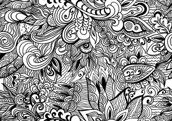 Doodle black and white abstract hand-drawn background. Wavy zentangle style seamless pattern.
