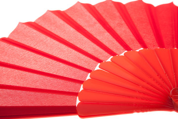 Close up of Red Open Hand Fan, Isolated on a White