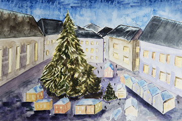 Winter fairy town
