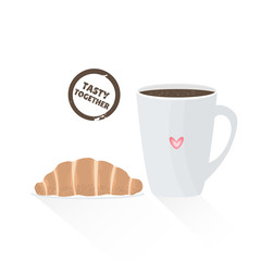 French croissant with cup of coffee isolated on white. Vector illustration tasty together in flat style