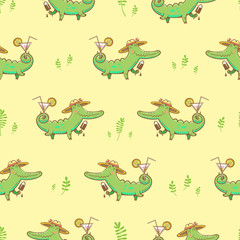 Summer seamless pattern with cute carton crocodiles, ice cream and cocktails. Vector image.