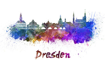 Wall Mural - Dresden skyline in watercolor