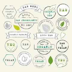Raw and Vegan stamps set
