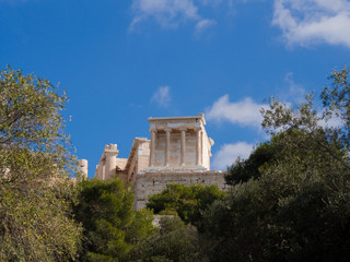 The Temple of Athena Nike on the Acropolis of Athens in Athens, Greece.