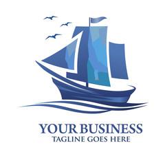 Modern and elegant minimalist sailing boat creative logo vector.