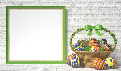 Easter basket with decorated eggs on white wooden background. Easter concept. 3D render illustration