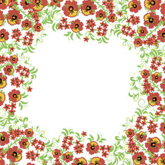 Floral background with leaves, swirls. Russian traditional ornament. Vector seamless pattern in hohloma style.