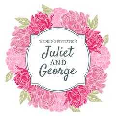 Wedding invitation card with peonies