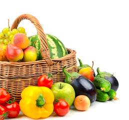 collection fruit and vegetable in basket
