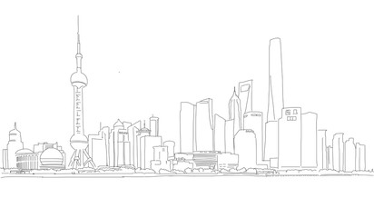 Shanghai Downtown Panorama Outline Sketch